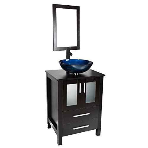 Bathroom Vanity and Sink Combo - 24 Inch Traditional Vanity Cabinet with Mirror and Tempered Glass Vessel Counter Top Sink Basin Eco MDF Board Faucet Pop-up Drain Set (Vanity+Nebula Blue Sink)