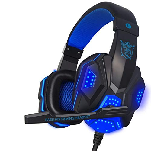 eubell Gaming Headset Mic LED Light Laptop Computer, Cellphone, PS4 Son on, DLAND 3.5mm Wired Noise Isolation Gaming Headphones - Volume Control