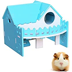 Hamster Villa, Hkim Wood Hideout House Wooden Living Hut Cabin Play Toys for Syrian Hamster, Dwarf Hamster, Chinchilla, Mouse, Gerbil and Small Animals (Green)