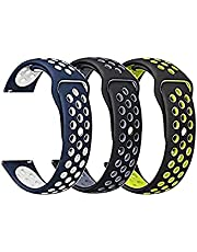 (3 Pack) Silicone Watch strap band 20mm, For Samsung Galaxy watch 4 and galaxy watch 4 classic
