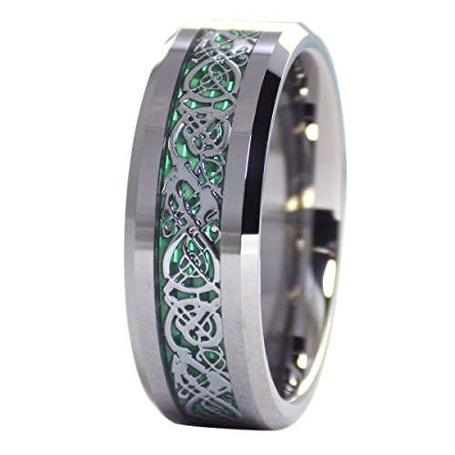 tungsten 8mm silver tone viking dragon celtic knot ring green carbon fiber wedding band size 12 - Wedding Rings Amazon