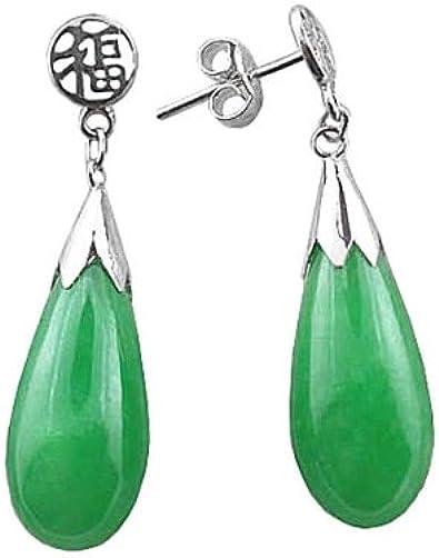 A Pair Teardrop Green Jade 925 Silver Dangle Hook Earrings