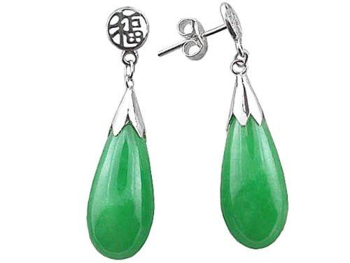 Green Jade Classic Teardrop Earrings, 925 Sterling Silver