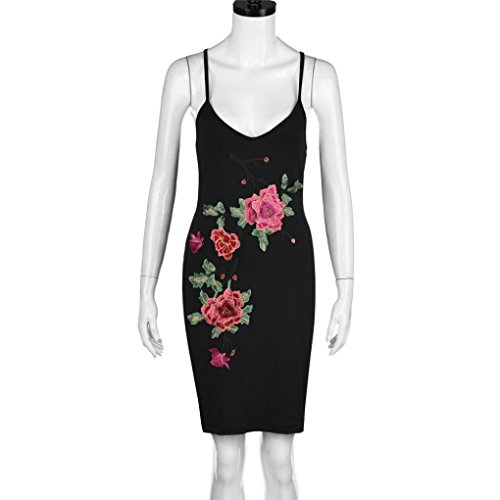 Vestido Para Mujer, Ouneed Mujer verano v cuello bordado floral vendaje backless vestido Negro