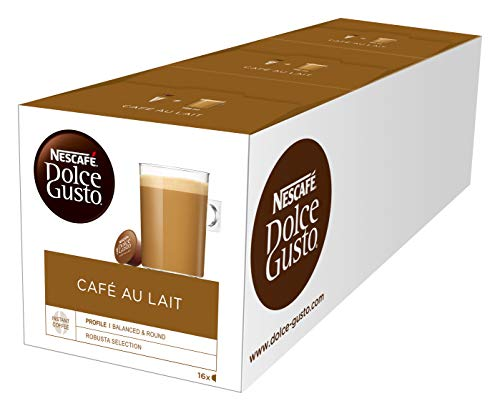 Nescafe Dolce Gusto Caf? Au Lait (Pack of 3, Total 48 Capsules)