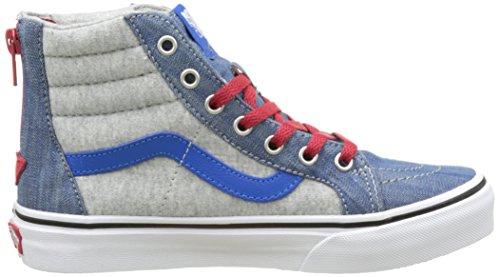 Vans Uy Sk8-Hi Zip, Zapatillas Altas para Niños Azul (Jersey And Denim Imperial Blue/true White)