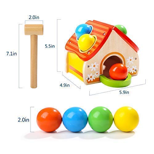 TOP BRIGHT Hammer Toy for 1 2 Year Old Boy and Girl Gifts Learning Wooden Montessori Toys for Toddlers Pounding and Color Matching Game with Ball Mallet by TOP BRIGHT (Image #6)