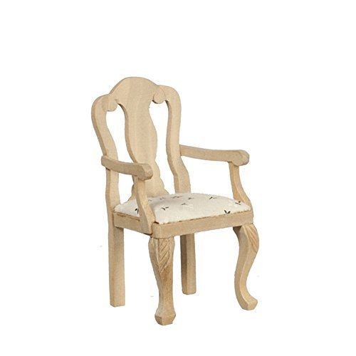 Melody Jane Dollhouse Carver Chair Unfinished Bare Wood Miniature Dining Room Furniture ()