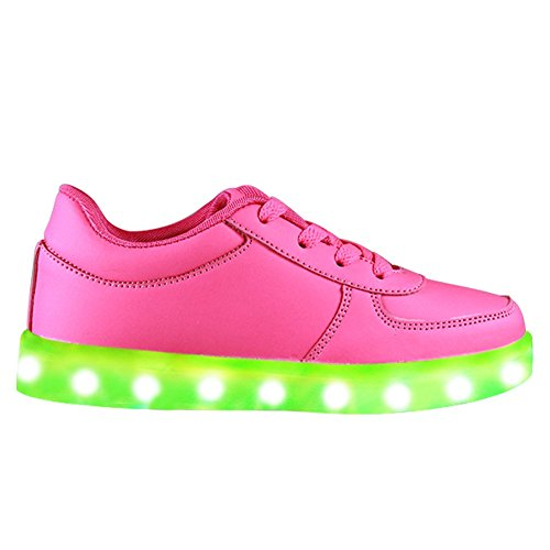 Topteck Summer 7 Colors LED Shoes USB Charging Light Colorful Glowing Leisure Flat Shoes for Kid and Adult Pink SfD04