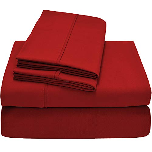 Bare Home Premium 1800 Ultra-Soft Microfiber Sheet Set Twin Extra Long – Double Brushed – Hypoallergenic – Wrinkle Resistant (Twin XL, Pepper Red)