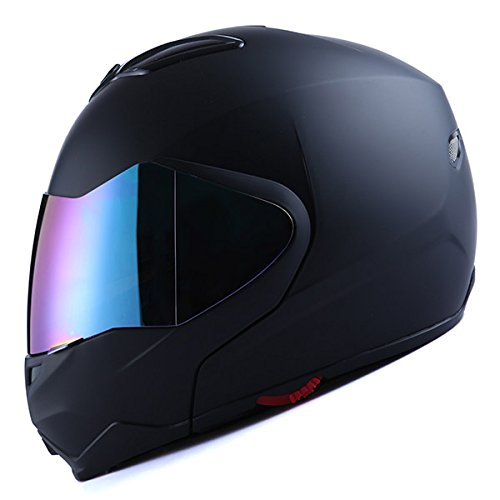 1Storm Motorcycle Street Bike Modular/Flip up Dual Visor/Sun Shield Full Face Helmet Matt Black