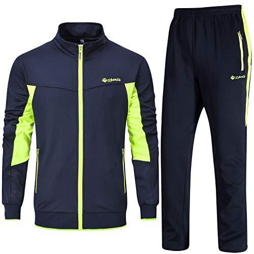 Rdruko Men's Track Jacket Pants Sport Sweat Suit Set(Blue Green, US -
