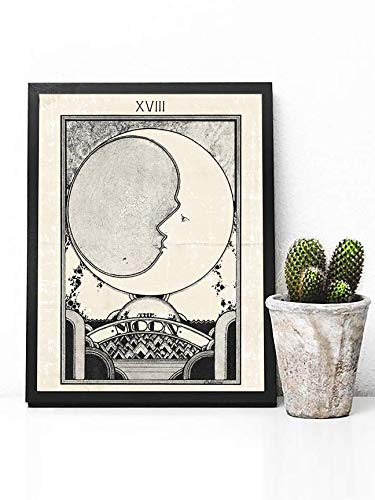 The Moon Tarot Card Poster Print - Moon Poster Print - Retro Art Deco Print - Art Deco Decor - Vintage Moon Poster - Vintage Moon Wall Art - Boho Decor - Boho Poster - Boho Wall Art