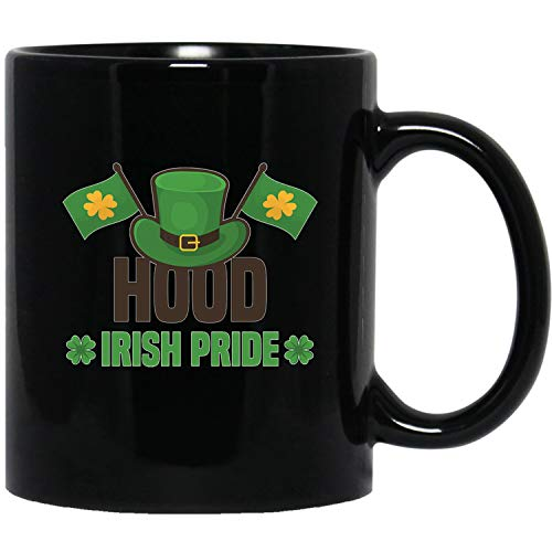 Irish Last Name Hood Celtic Cross Heritage Pride Funny Gifts Idea Black Mug