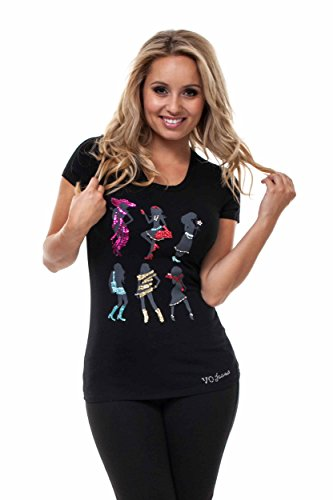 - VIRGIN ONLY Women's Graphic T-shirt With Embellish Detail Along The Print (41 Black, Size Large)