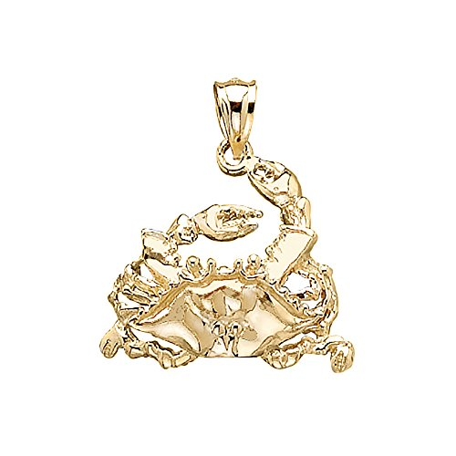 14k Yellow Gold Nautical Charm, Blue Crab with Raised Leg, 2-D, High - Gold Nautical Charm 14k Crab