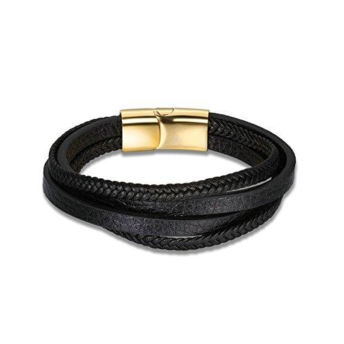 a0e8a3e63f62 AmDxD Joyería Moderna Pulsera de Cuero para Hombres Multicapas Cuerda Oro  20 CM Hombres Negro Pulsera