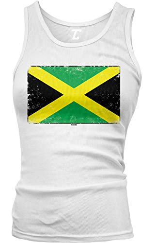 Jamaica Flag - Country Heritage Pride Juniors Tank Top (White, Medium)