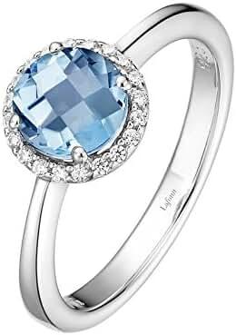 LaFonn Sterling Silver Simulated Aquamarine & .20CTW Simulated Diamond Halo Ring