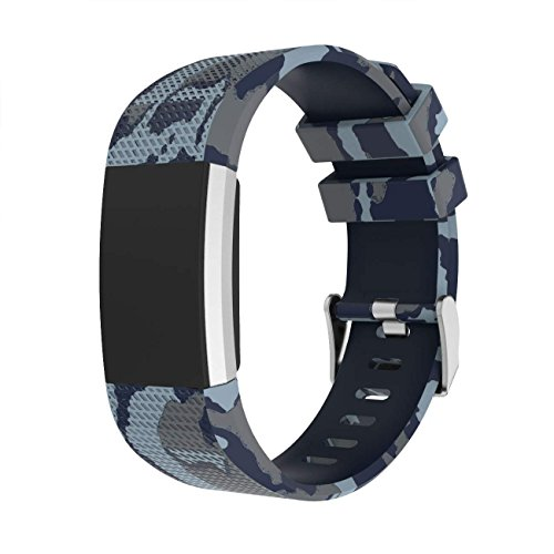 Gray Camouflage - For Fitbit Charge 2 Bands, Camouflage Silicone Replacement Band With Metal Buckle Sport Strap Wristbands Accessories for Fitbit Charge2 Fitness Tracker Women Men (Gray)