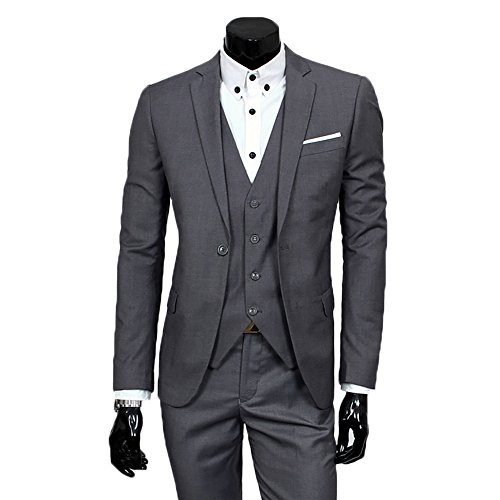 Men's Slim Fit Peak Lapel Suit Blazer Jacket Tux Vest & Trousers 3-piece Suit Set (3 Piece Jacket)