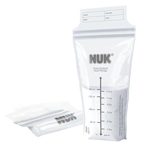 NUK 10252088 Muttermilchbeutel, 25 Stück a 180 ml, sterilisiert für den sofortigen Einsatz, auslaufsicher, BPA-frei