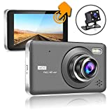 SHISHUO Dash Cam Front and Rear - 4 Inch Touch Screen 1080P HD IPS Display Vehicle Driving Recording Cameras, Built In G-Sensor, Motion Detection, LED Light Compensation, Parking Monitoring, HDR Night Vision, Reversing Backup Camera