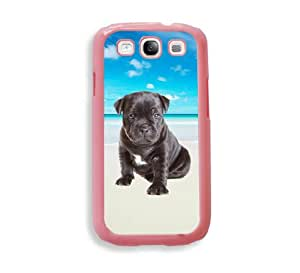 Hipster Beach Staffordshire Bull Terrier Pink Plastic Bumper Samsung Galaxy S3 SIII i9300 Case - Fits Samsung Galaxy S3 SIII i9300