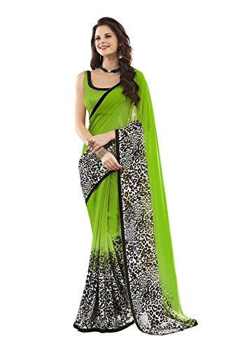 Jaanvi-Fashion-Green-Chiffon-Printed-Saree