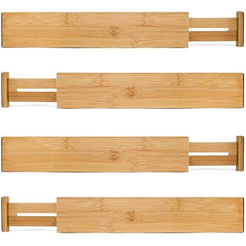Bamboo Wooden Drawer Divider, Set of 4 | Adjustable Organizers | Natural Organic Bamboo | Expandable, Spring Loaded | Works in Kitchen, Dresser, Bathroom, Bedroom, Desk, Baby