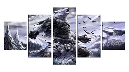 Werewolf Canvas Wall Decor - 5 Pieces Appreciation Wall Art - Oil Painting - Unframed - Room Party Decorations, Halloween Poster Gift #08