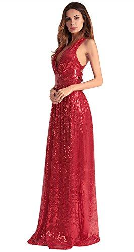 vestido de de vestido lentejuelas de FOLOBE Red fiesta la mujer noche A0CHq