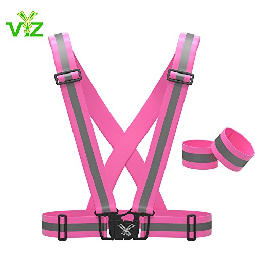 Reflective Vest with Set of Hi Vis Arm / Leg Bands, Fully Adjustable: Womens Running, Cycling Gear, Motorcycle Safety, Dog Walking & More - High Visibility Neon Pink By 247 Viz