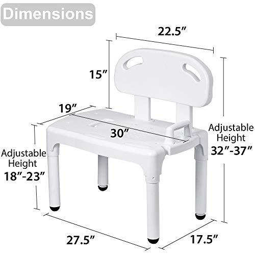 Bathtub and Shower Transfer Bench Chair with Exact Level Patented Height Adjustment by Vaunn (Image #5)