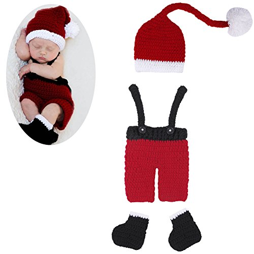 Ownmagi Boy Baby Newborn Christmas Knit Crochet Costume Photography Props Outfits (Newborn Christmas Costume)