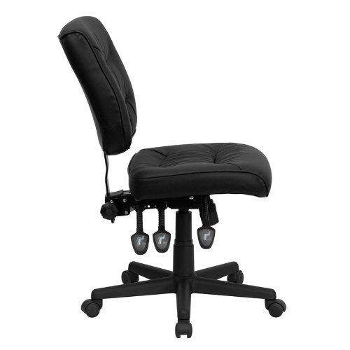 Flash Furniture Mid-Back Black Leather Multifunction Swivel Task Chair