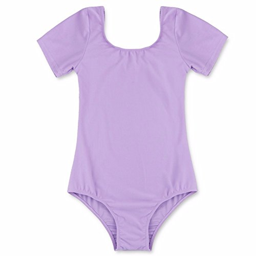 4 Person Team Costumes (iEFiEL Kids Girls Short Sleeve Classic Basic Gymnastic Ballet Leotard Dance Costume Top Purple 4)