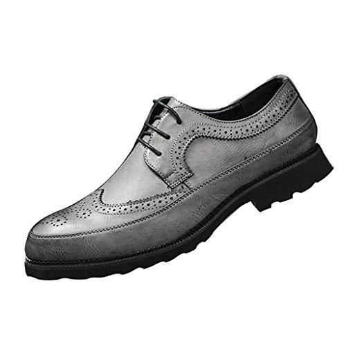 (Men's Dunbar Wingtip Leather Brogue Oxford Shoe Slip On Business Dress Shoes for Men (US:10, Gray) )