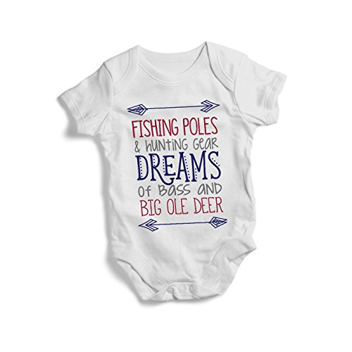 Promini Colourful Fishing Poles and Hunting Gears Baby Bodysuit Cute Infant One-Piece Bodysuit Baby Romper Best Gift for Baby (Baby Hunting Gear)