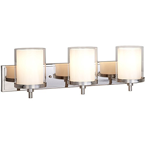 Triple Frosted and Clear Glass Wall Sconce | Polished Nickel LED Fixture | Vanity, Bedroom, or Bathroom Light | Interior Lighting ()