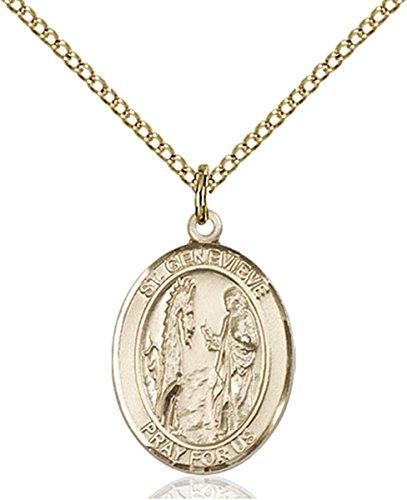 14K Gold Filled Saint Genevieve Medal Pendant, 3/4 Inch - Genevieve Medal Pendant