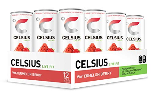 CELSIUS - Sweetened with Stevia - Watermelon Berry Non-Carbonated Fitness Drink, ZERO Sugar, 12oz. Slim Can, 12 Pack