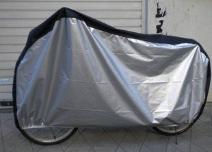 KLOUD ® Silver & Black 190T nylon waterproof bike / bicycle cover (size: LL