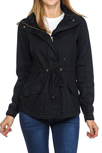 (Women's Premium Vintage Wash Lightweight Military Fashion Twill Hoodie Jacket Black S)