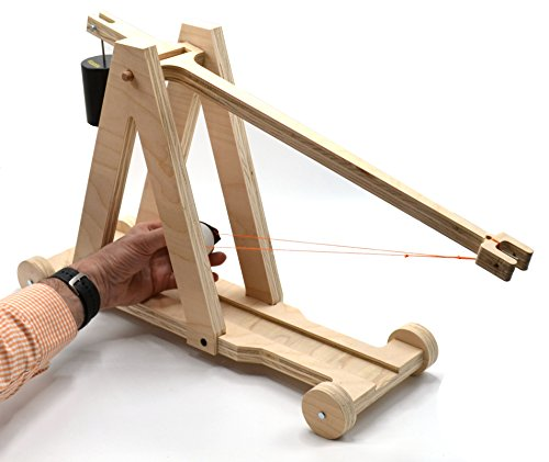Large Premium Wood Trebuchet DIY Kit (All Parts Included) - 21 inch Beam Arm Launches up to 30ft - Made in USA - Eisco Garage Physics