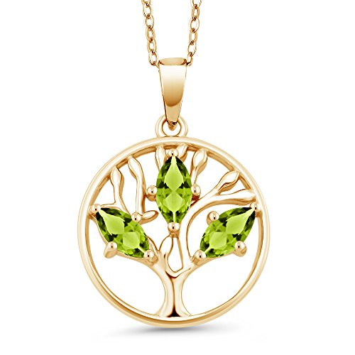 Gem Stone King 0.75 Ct Marquise Green Peridot 18K Yellow Gold Plated Silver Tree of Life Pendant With Chain (Uk Christmas Pe Trees)