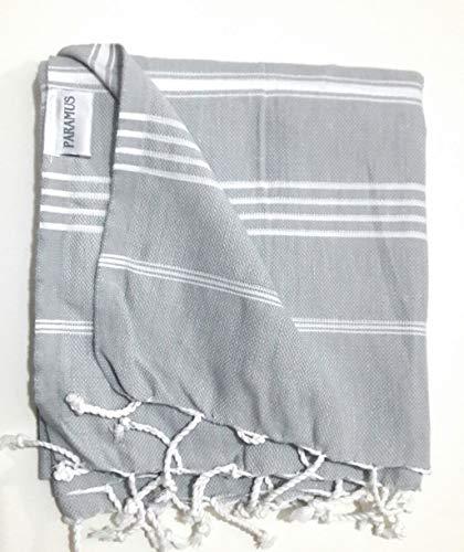Paramus 100% Cotton Pestemal Turkish Bath Towel (1pcs Silver Grey) by Paramus