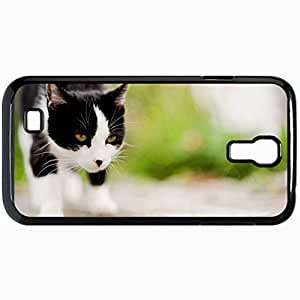 Fashion Unique Design Protective Cellphone Back Cover Case For Samsung GalaxyS4 Case Cat Muzzle Spotted Blurring Black