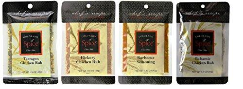 Colorado Spice Chicken Poultry Game Rub 4 Flavor Sampler Bundle, (1) each: Tarragon, Hickory, Barbeque, Balsamic (1.5 Ounces)