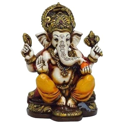 - Lightahead The Blessing. A Colored & Gold Statue of Lord Ganesh Ganpati Elephant Hindu God Made from Marble Powder in India